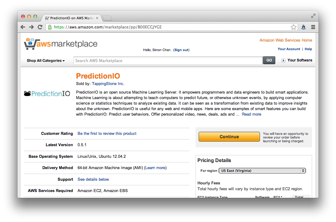 Launching Predictionio On Aws Inexpensive Incubator Alarm System Using Linux Under The Big Yellow Continue Button Select Region Where You Want To Launch Ec2 Instance Then Click